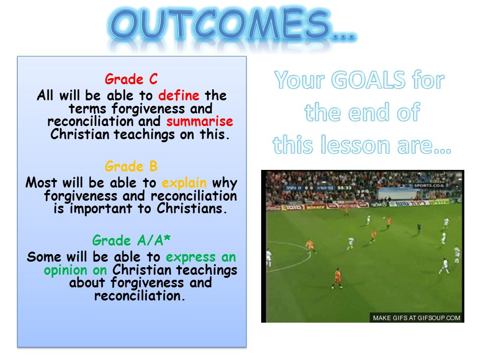 Grade C All will be able to define the terms forgiveness and reconciliation and summarise Christian teachings on this.