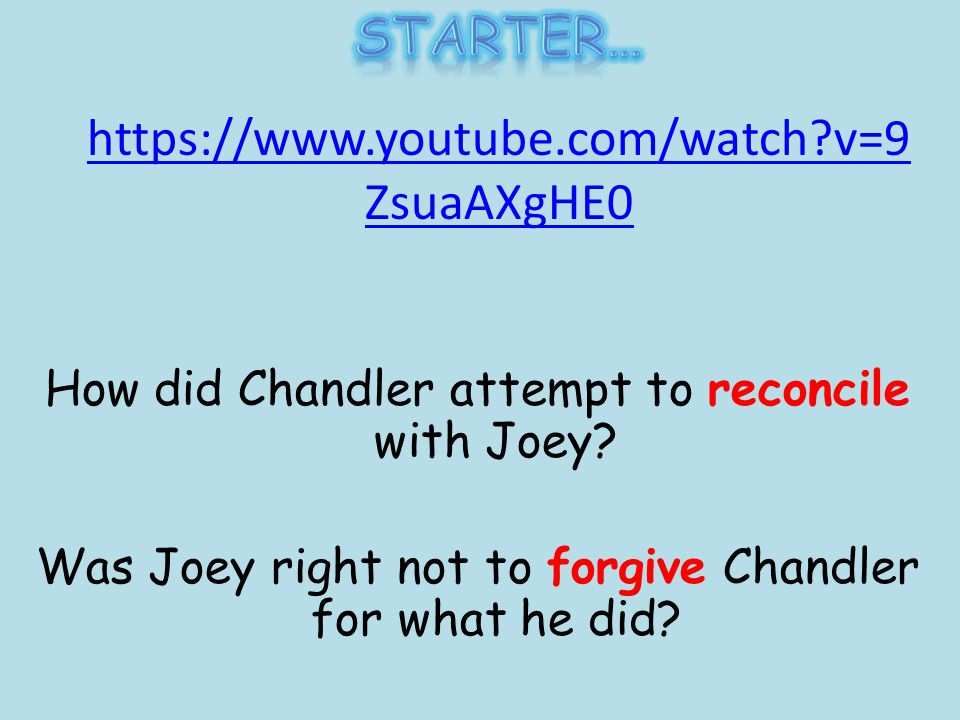 https://www.youtube.com/watch v=9 ZsuaAXgHE0 How did Chandler attempt to reconcile with Joey.