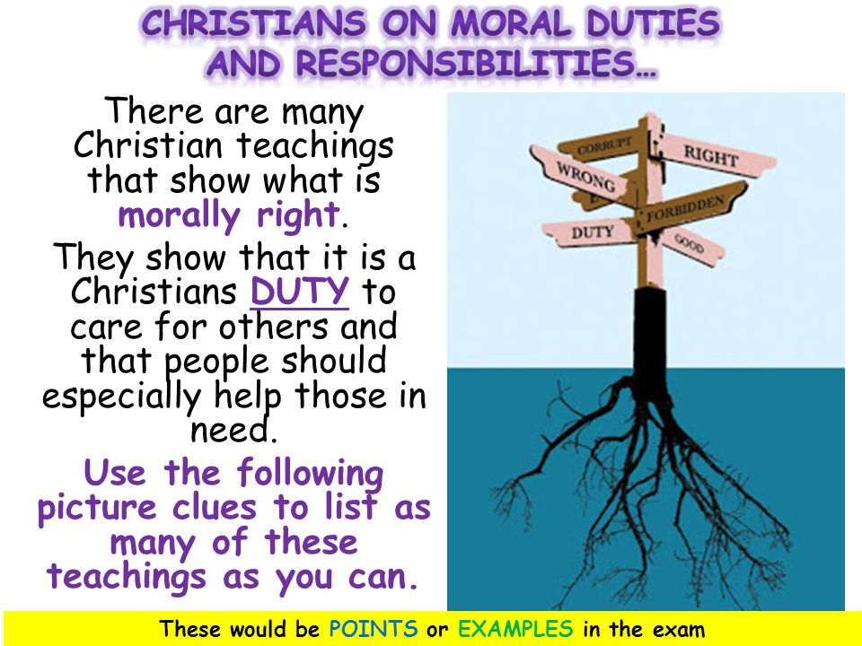 There are many Christian teachings that show what is morally right.