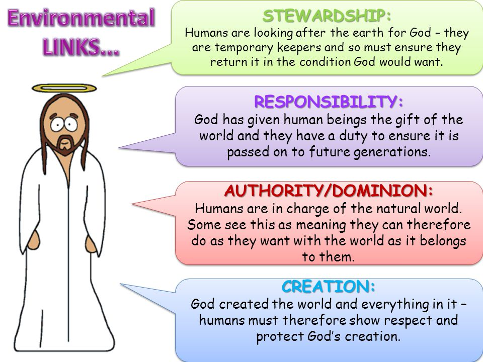 STEWARDSHIP: Humans are looking after the earth for God – they are temporary keepers and so must ensure they return it in the condition God would want.STEWARDSHIP: AUTHORITY/DOMINION: Humans are in charge of the natural world.