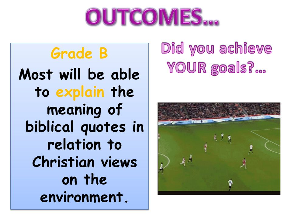 Grade B Most will be able to explain the meaning of biblical quotes in relation to Christian views on the environment.