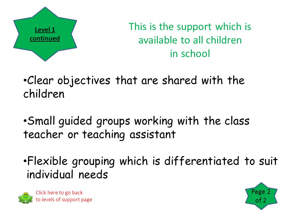 Clear objectives that are shared with the children Small guided groups working with the class teacher or teaching assistant Flexible grouping which is