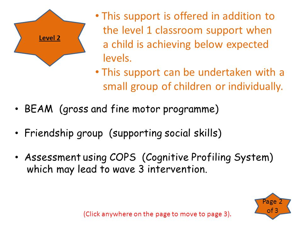 BEAM (gross and fine motor programme) Friendship group (supporting social skills) Assessment using COPS (Cognitive Profiling System) which may lead to
