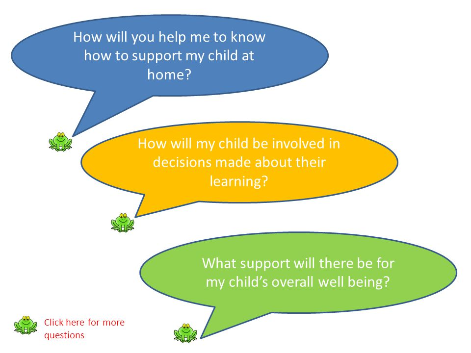 How will you help me to know how to support my child at home? How will my child be involved in decisions made about their learning? What support will