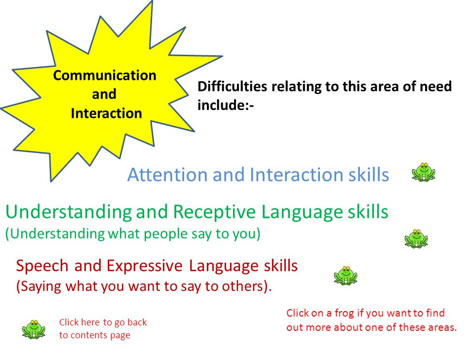 Communication and Interaction Difficulties relating to this area of need include:- Attention and Interaction skills Understanding and Receptive Langua
