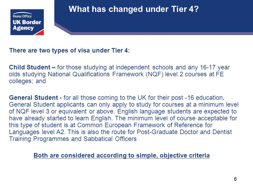 What has changed under Tier 4.