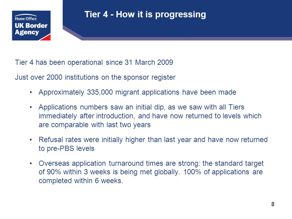 Tier 4 - How it is progressing Tier 4 has been operational since 31 March 2009 Just over 2000 institutions on the sponsor register Approximately 335,000 migrant applications have been made Applications numbers saw an initial dip, as we saw with all Tiers immediately after introduction, and have now returned to levels which are comparable with last two years Refusal rates were initially higher than last year and have now returned to pre-PBS levels Overseas application turnaround times are strong: the standard target of 90% within 3 weeks is being met globally.