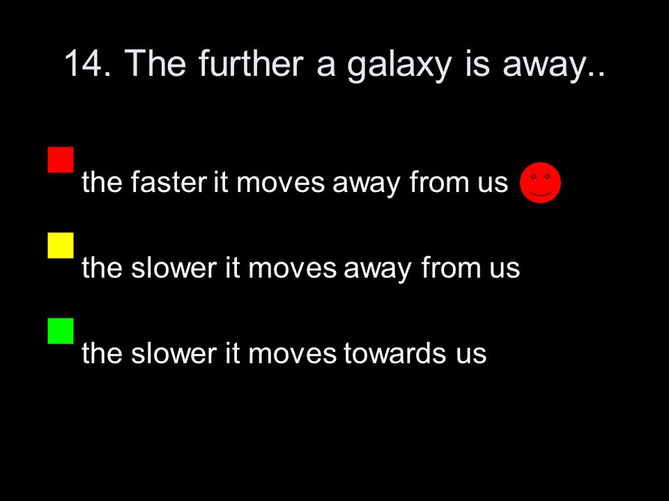 14. The further a galaxy is away..
