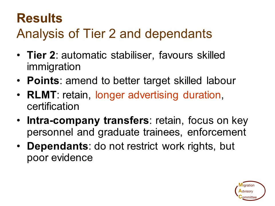 Results Analysis of Tier 2 and dependants Tier 2: automatic stabiliser, favours skilled immigration Points: amend to better target skilled labour RLMT