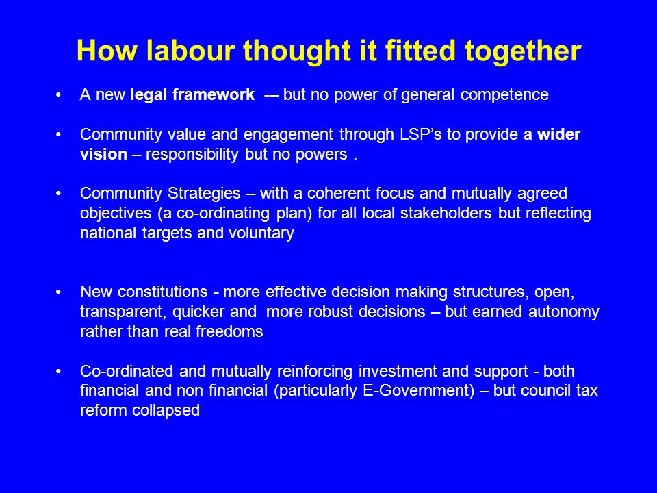 How labour thought it fitted together A new legal framework -– but no power of general competence Community value and engagement through LSP's to provide a wider vision – responsibility but no powers.