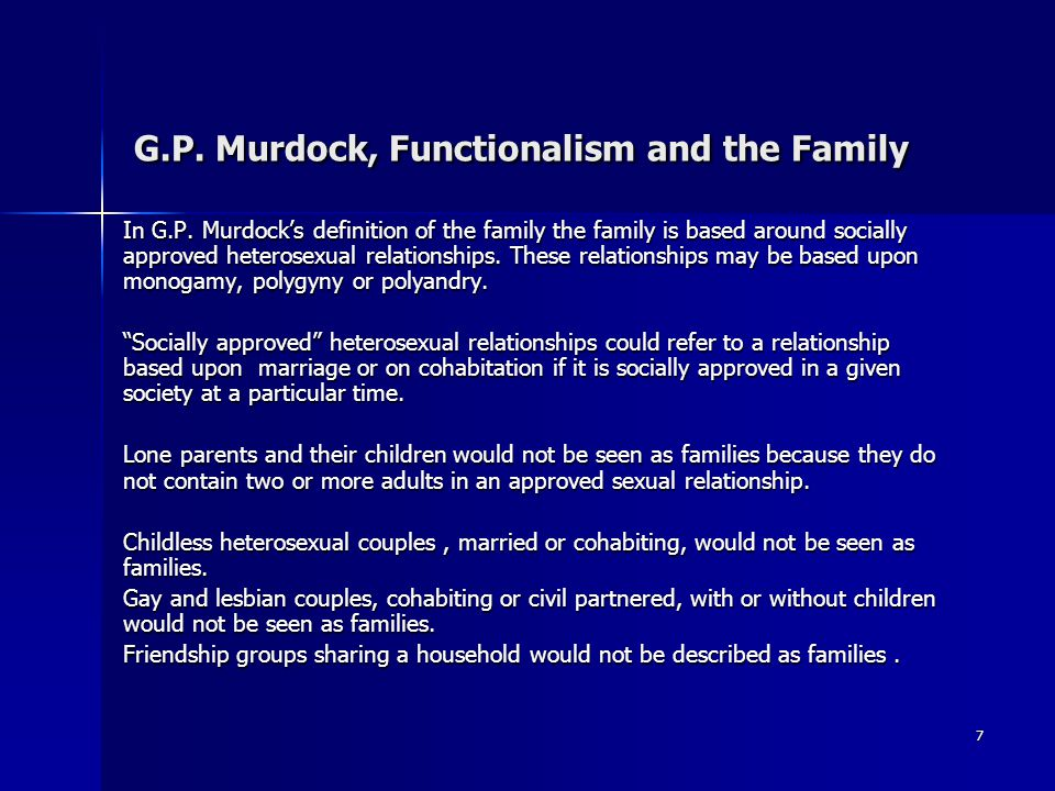 8 G.P.Murdock, Functionalism and the Family Some Criticisms of G.P.