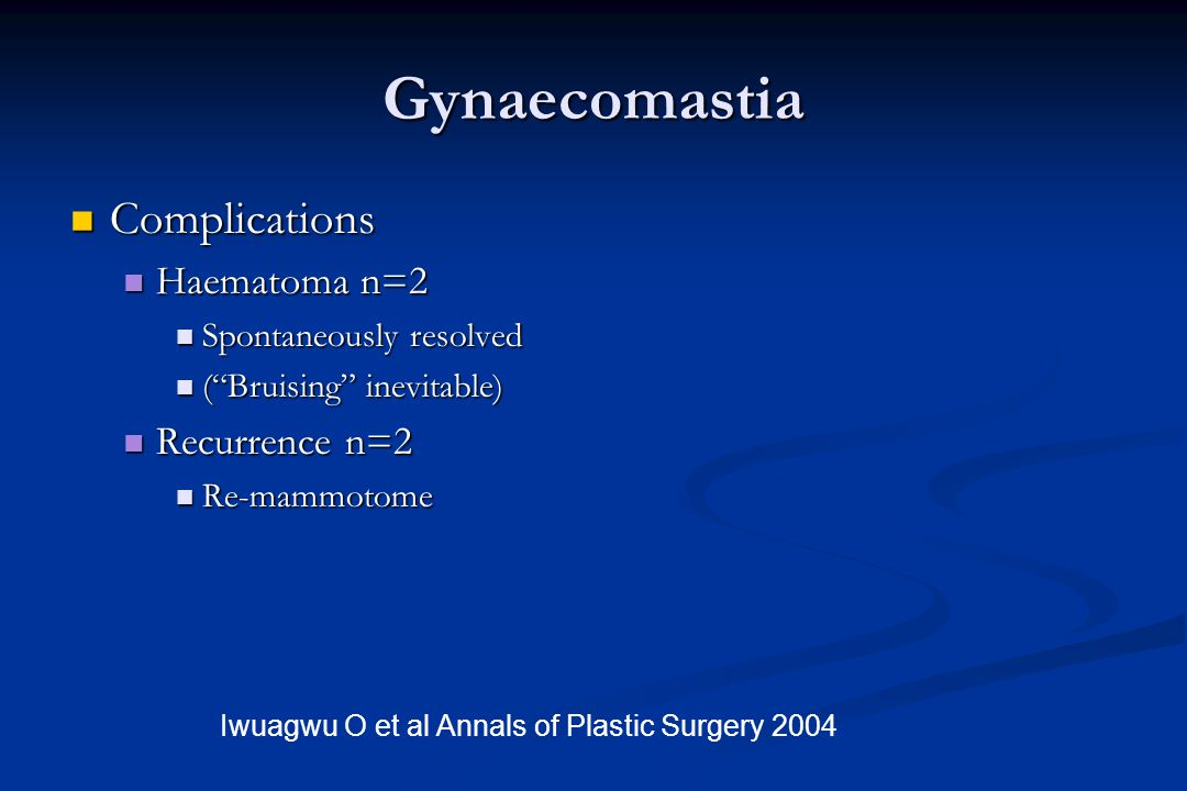 "Gynaecomastia Complications Complications Haematoma n=2 Haematoma n=2 Spontaneously resolved Spontaneously resolved (""Bruising"" inevitable) (""Bruising"