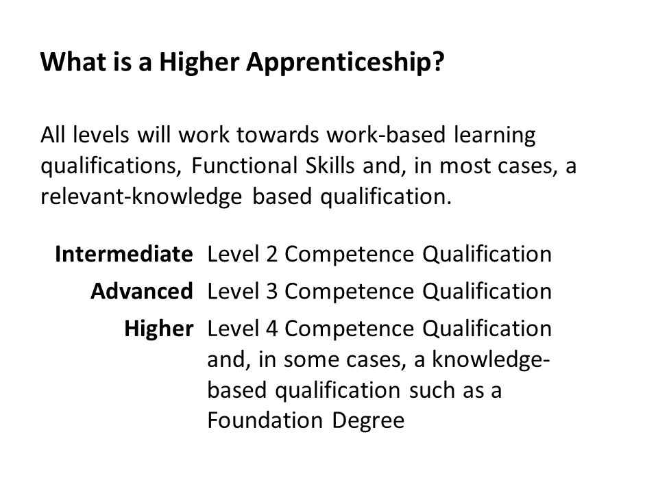 What is a Higher Apprenticeship? All levels will work towards work-based learning qualifications, Functional Skills and, in most cases, a relevant-kno