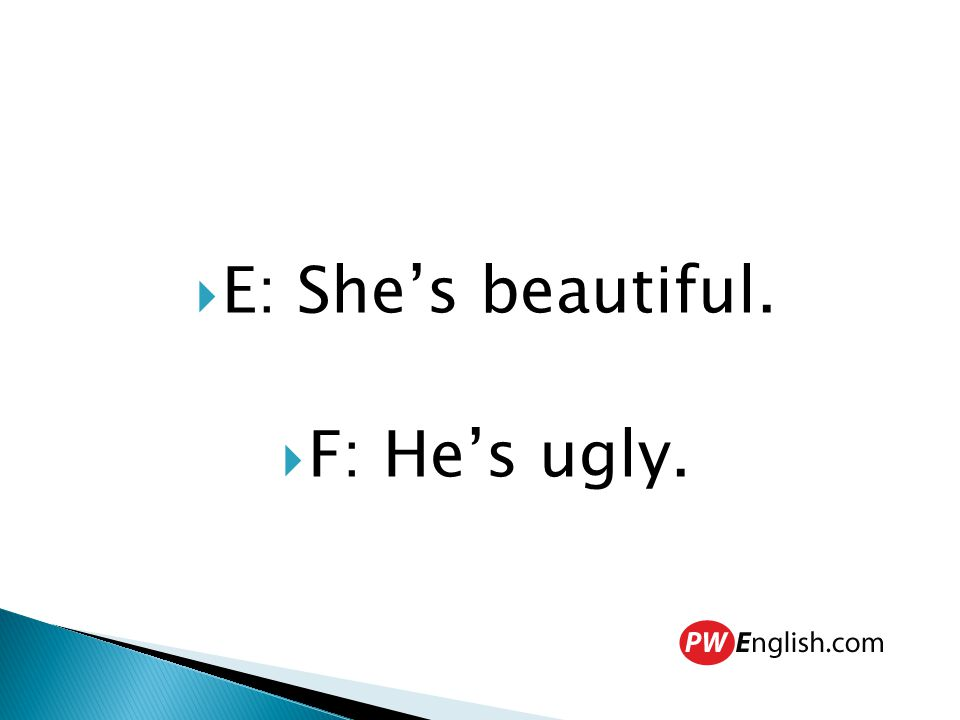  E: She's beautiful.  F: He's ugly.