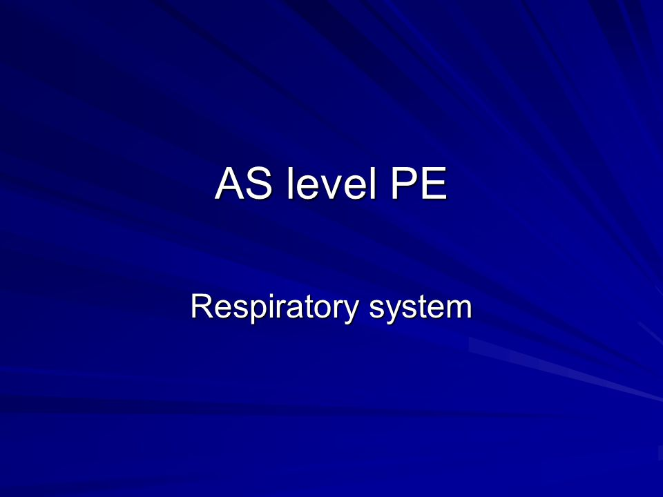 AS level PE Respiratory system