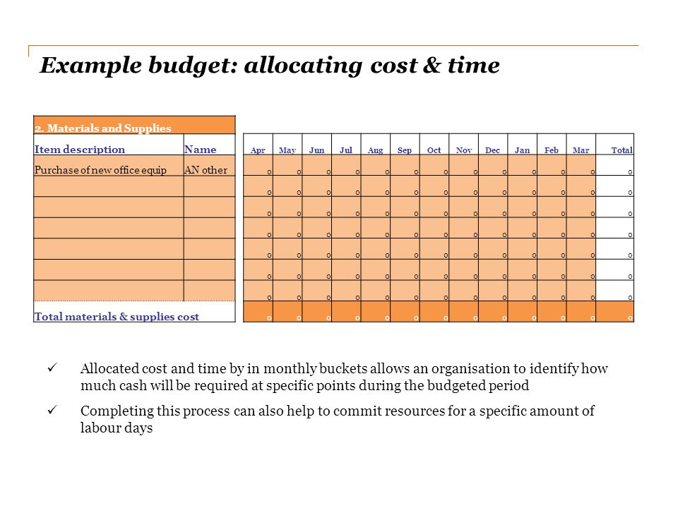 Example budget: allocating cost & time Allocated cost and time by in monthly buckets allows an organisation to identify how much cash will be required