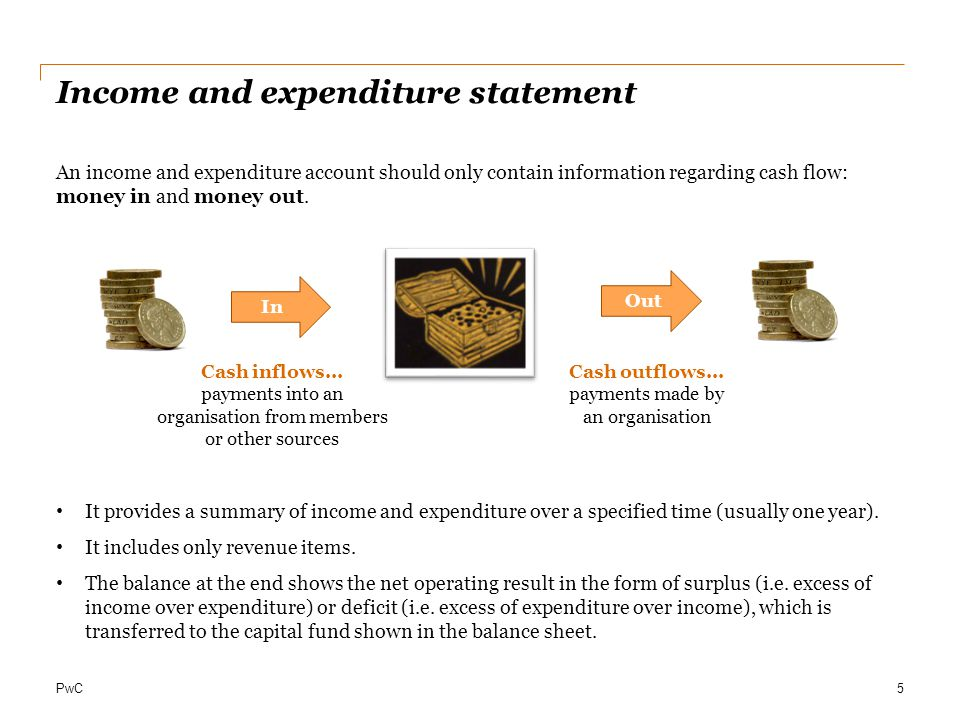 PwC Income and expenditure statement An income and expenditure account should only contain information regarding cash flow: money in and money out. It