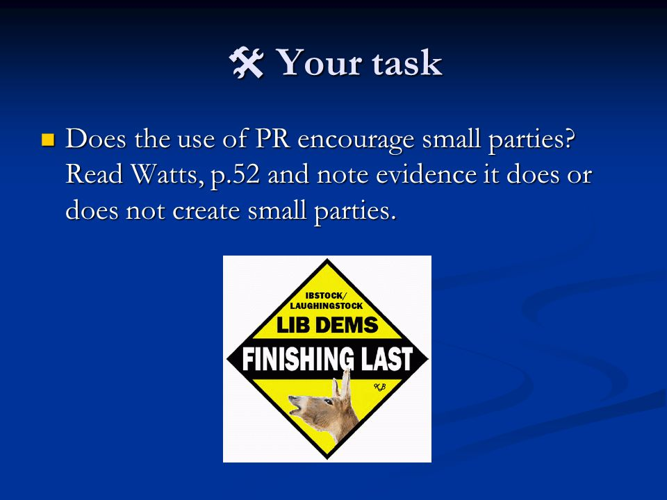  Your task Does the use of PR encourage small parties.