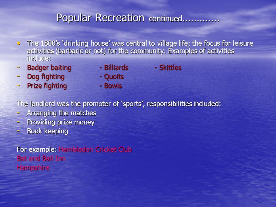 Popular Recreation continued ………….