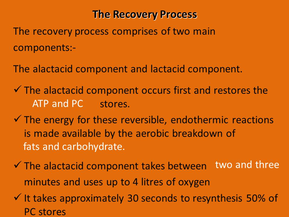 Main features of the lactacid component: Lactic acid accumulated during exercise must be removed.