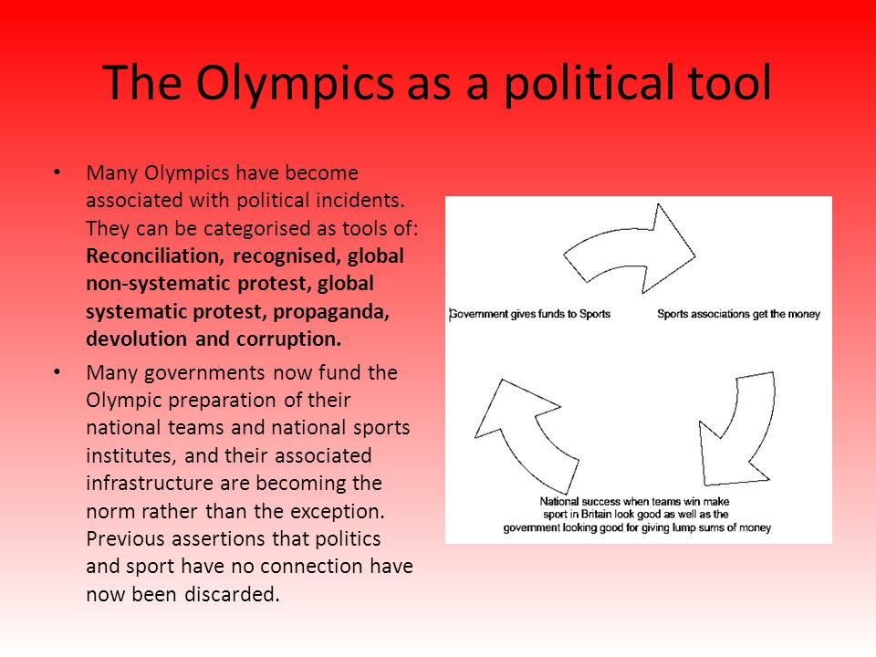 The Olympics as a political tool Many Olympics have become associated with political incidents. They can be categorised as tools of: Reconciliation, r