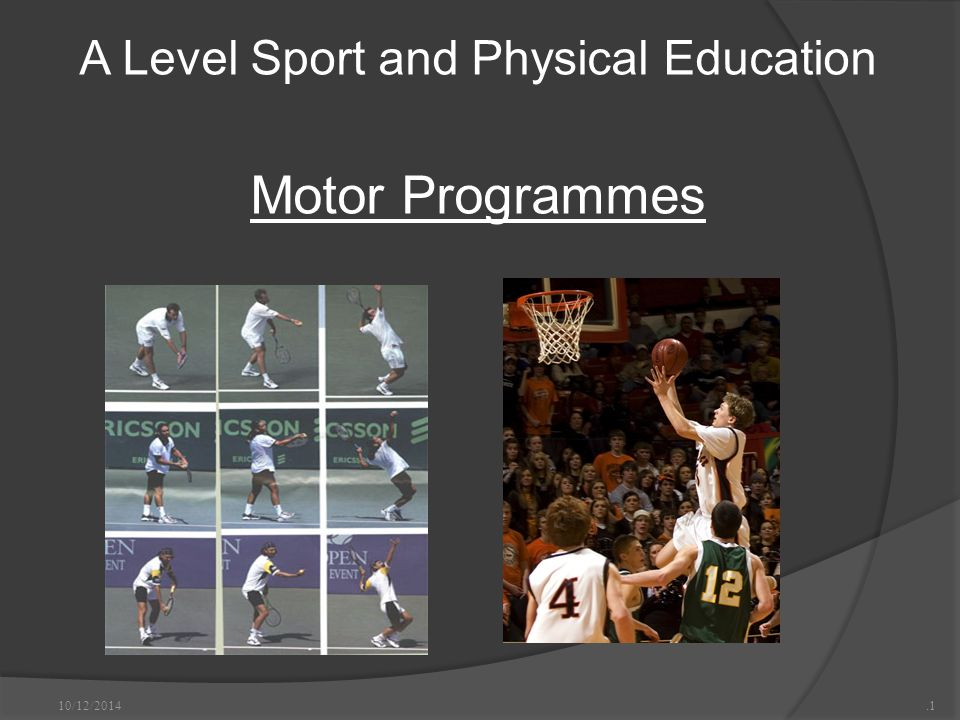 A Level Sport and Physical Education Motor Programmes 10/12/2014.1