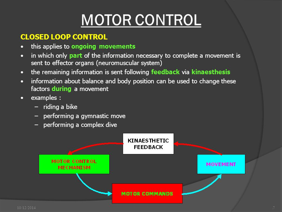 MOTOR CONTROL 10/12/2014.7 CLOSED LOOP CONTROL this applies to ongoing movements in which only part of the information necessary to complete a movement is sent to effector organs (neuromuscular system) the remaining information is sent following feedback via kinaesthesis information about balance and body position can be used to change these factors during a movement examples : –riding a bike –performing a gymnastic move –performing a complex dive