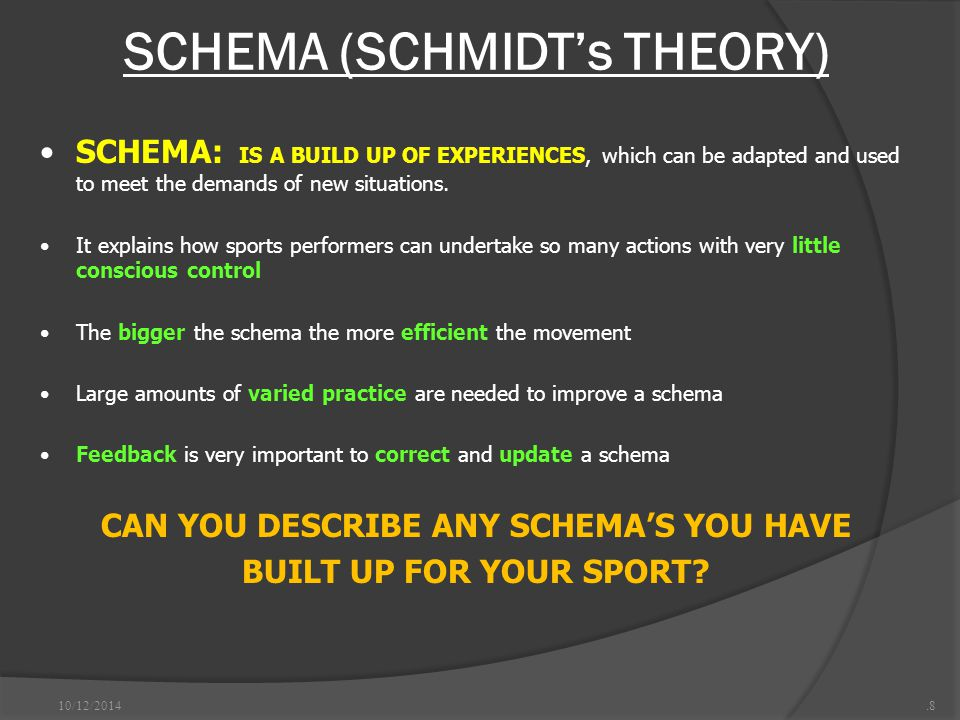 SCHEMA (SCHMIDT's THEORY) 10/12/2014.8 SCHEMA: IS A BUILD UP OF EXPERIENCES, which can be adapted and used to meet the demands of new situations.