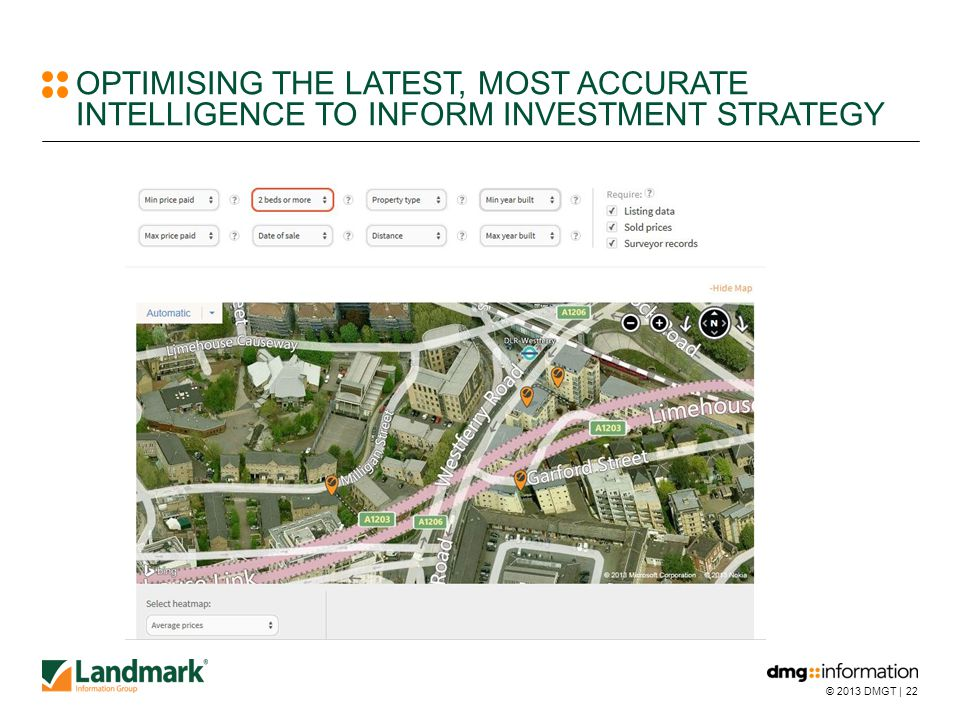 © 2013 DMGT |22 OPTIMISING THE LATEST, MOST ACCURATE INTELLIGENCE TO INFORM INVESTMENT STRATEGY