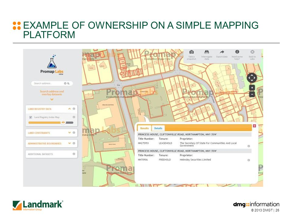 © 2013 DMGT |26 EXAMPLE OF OWNERSHIP ON A SIMPLE MAPPING PLATFORM