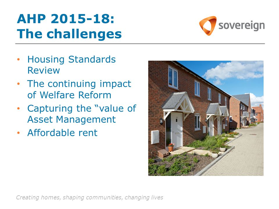 Creating homes, shaping communities, changing lives AHP 2015-18: The challenges Housing Standards Review The continuing impact of Welfare Reform Capturing the value of Asset Management Affordable rent