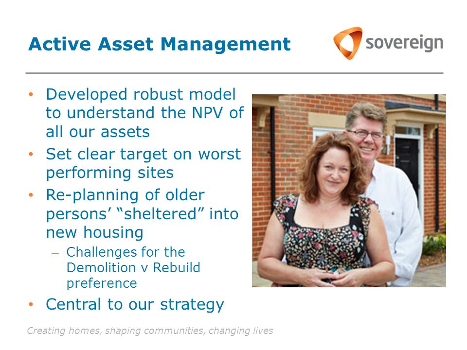 Creating homes, shaping communities, changing lives Active Asset Management Developed robust model to understand the NPV of all our assets Set clear target on worst performing sites Re-planning of older persons' sheltered into new housing – Challenges for the Demolition v Rebuild preference Central to our strategy
