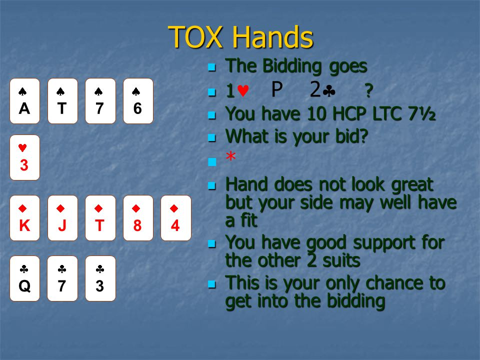 TOX Hands The Bidding goes The Bidding goes 1. 1 P 2  .
