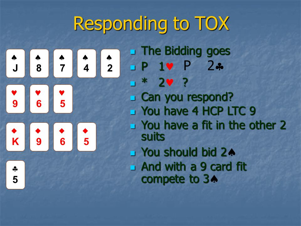 Responding to TOX The Bidding goes The Bidding goes P 1 P 1 P 2  * 2 .