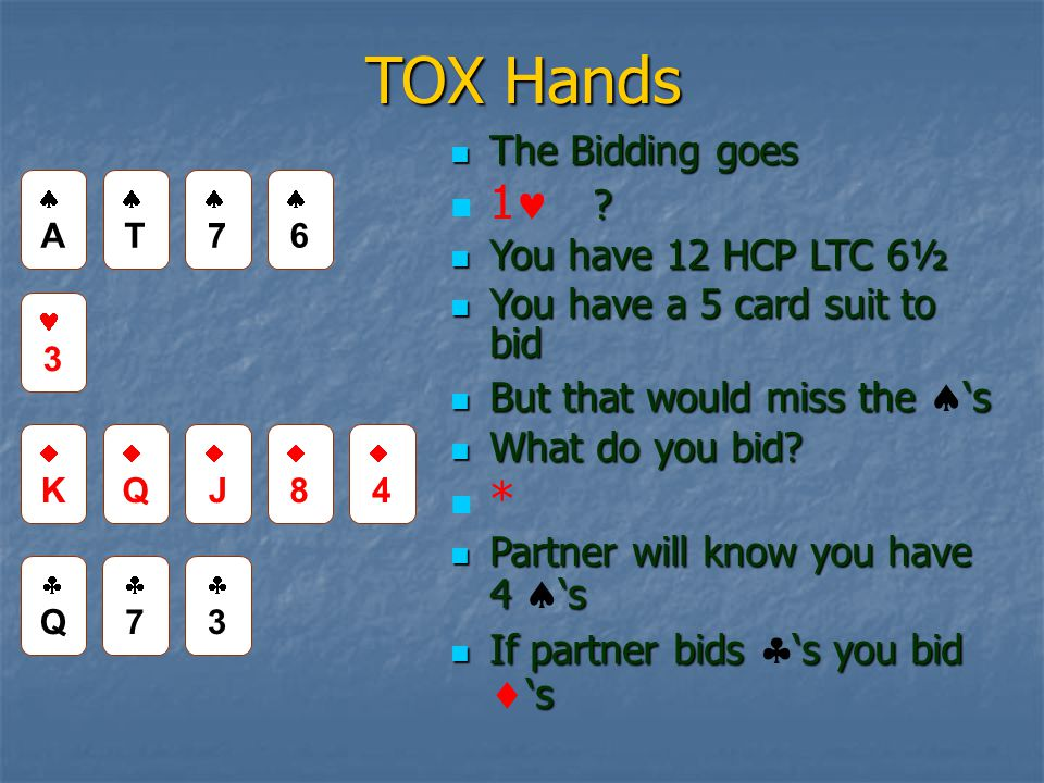 TOX Hands The Bidding goes The Bidding goes . 1 .