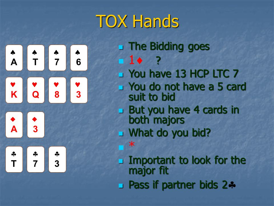 TOX Hands The Bidding goes The Bidding goes . 1  .