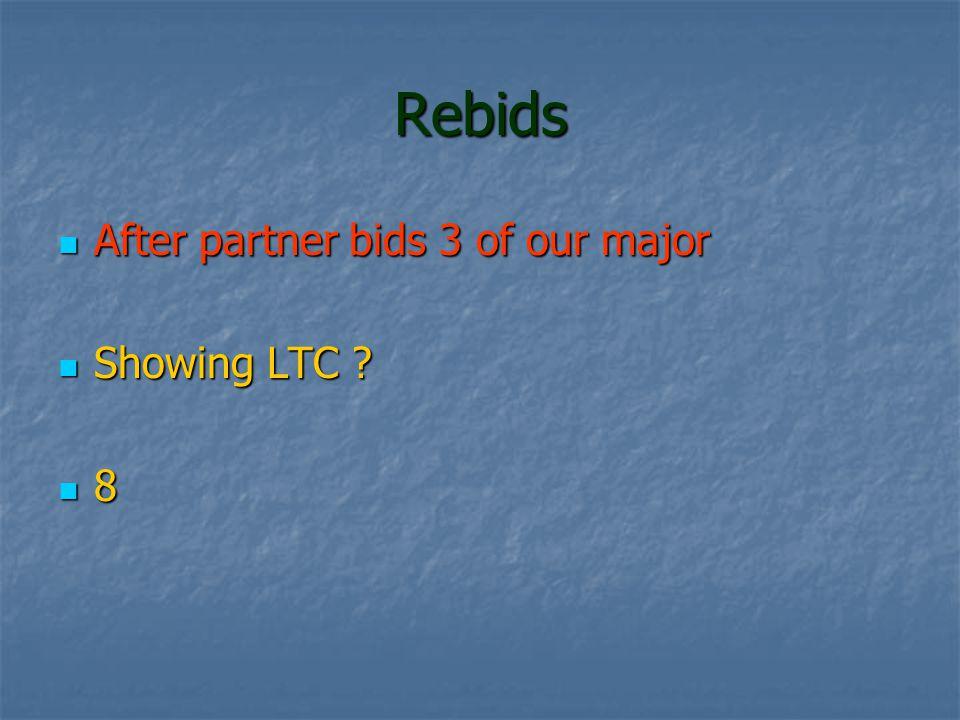 Rebids After partner bids 3 of our major After partner bids 3 of our major Showing LTC .