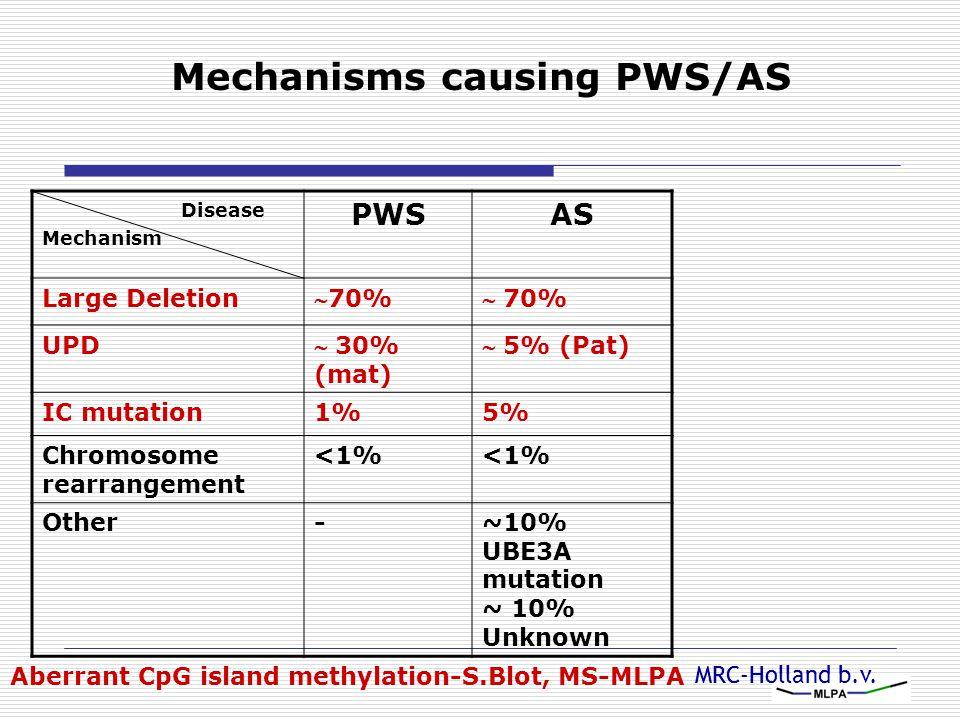 MRC-Holland b.v. Mechanisms causing PWS/AS Aberrant CpG island methylation-S.Blot, MS-MLPA Disease Mechanism PWSAS Large Deletion 70% UPD  30% (mat)