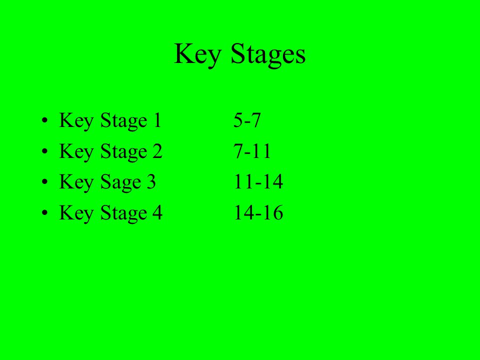 Key Stages Key Stage 15-7 Key Stage 27-11 Key Sage 3 11-14 Key Stage 4 14-16