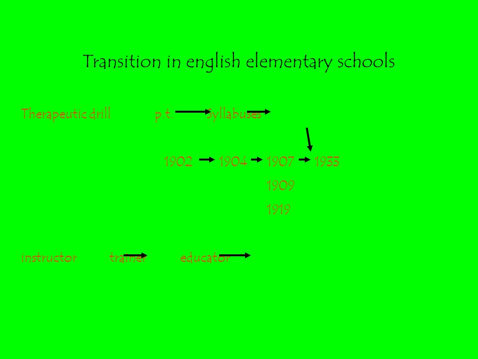 Transition in english elementary schools Therapeutic drill p.t.