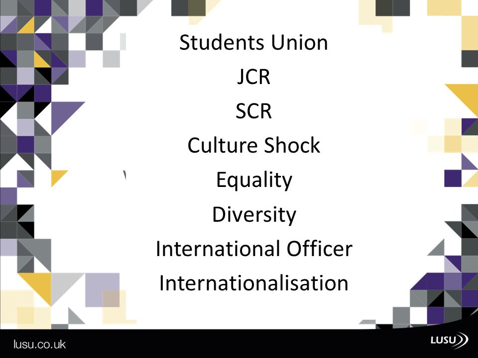 Students Union JCR SCR Culture Shock Equality Diversity International Officer Internationalisation