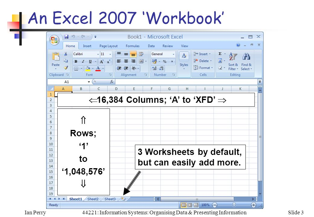 Ian PerrySlide 344221: Information Systems: Organising Data & Presenting Information An Excel 2007 'Workbook'  16,384 Columns; 'A' to 'XFD'   Rows; '1' to '1,048,576'  3 Worksheets by default, but can easily add more.