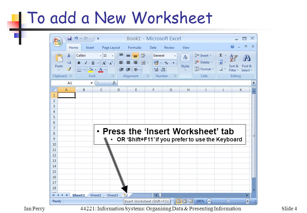 Ian PerrySlide 444221: Information Systems: Organising Data & Presenting Information To add a New Worksheet Press the 'Insert Worksheet' tab OR 'Shift