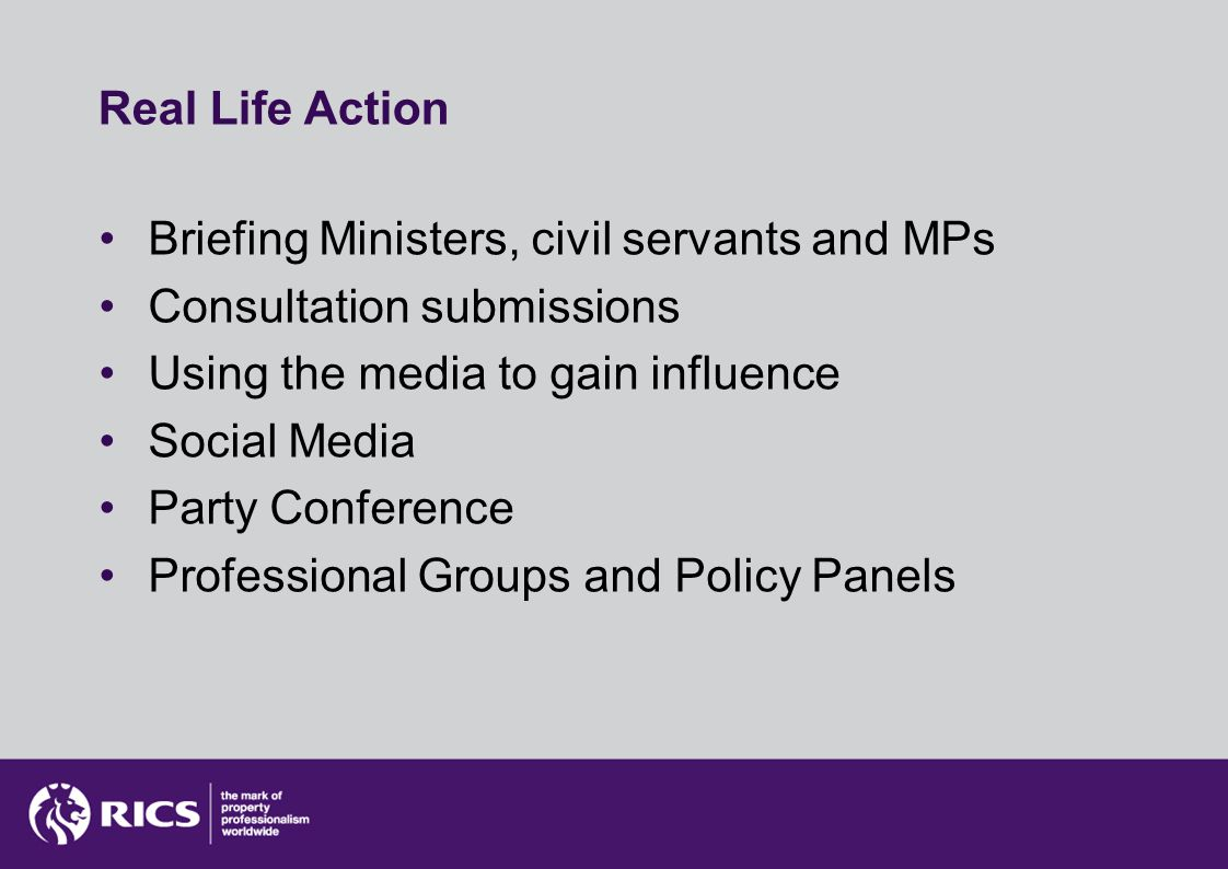 Real Life Action Briefing Ministers, civil servants and MPs Consultation submissions Using the media to gain influence Social Media Party Conference Professional Groups and Policy Panels