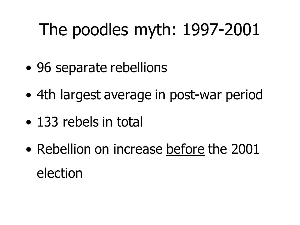 The poodles myth: 1997-2001 96 separate rebellions 4th largest average in post-war period 133 rebels in total Rebellion on increase before the 2001 election