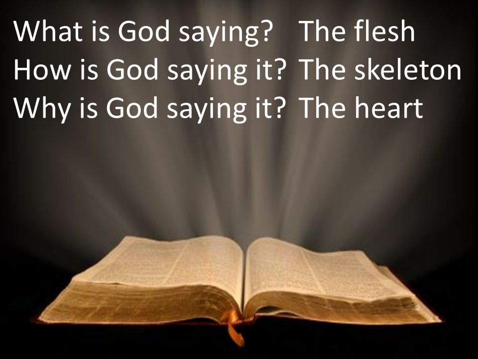 What is God saying How is God saying it Why is God saying it The flesh The skeleton The heart
