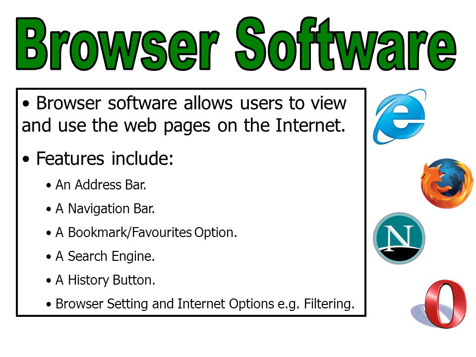 Browser software allows users to view and use the web pages on the Internet.