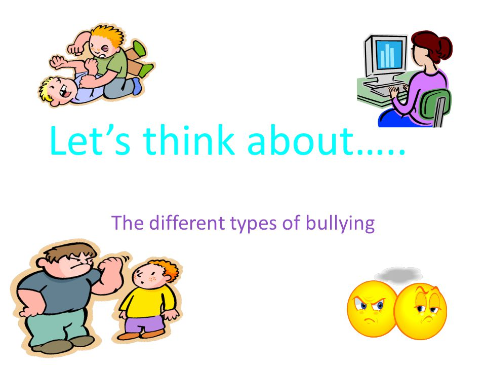 Let's think about….. The different types of bullying