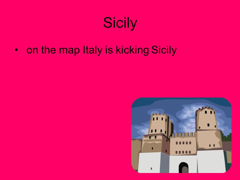 Sicily on the map Italy is kicking Sicily