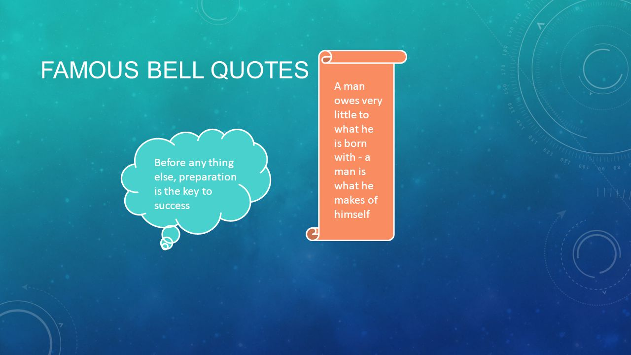 FAMOUS BELL QUOTES Before any thing else, preparation is the key to success A man owes very little to what he is born with - a man is what he makes of himself